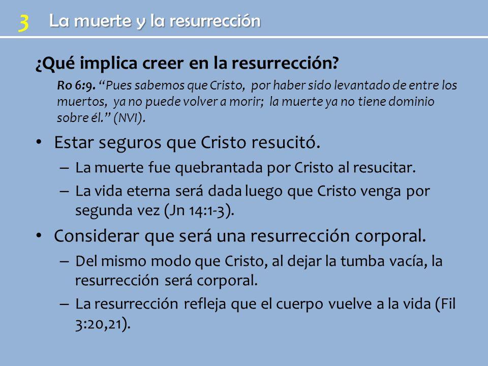3 ¿Qué implica creer en la resurrección? Ro 6:9. Pues sabemos que Cristo, por haber sido levantado de entre los muertos, ya no puede volver a morir; l