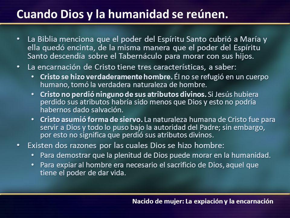 Nacido de mujer: La expiación y la encarnación Cuando Dios y la humanidad se reúnen. La Biblia menciona que el poder del Espíritu Santo cubrió a María