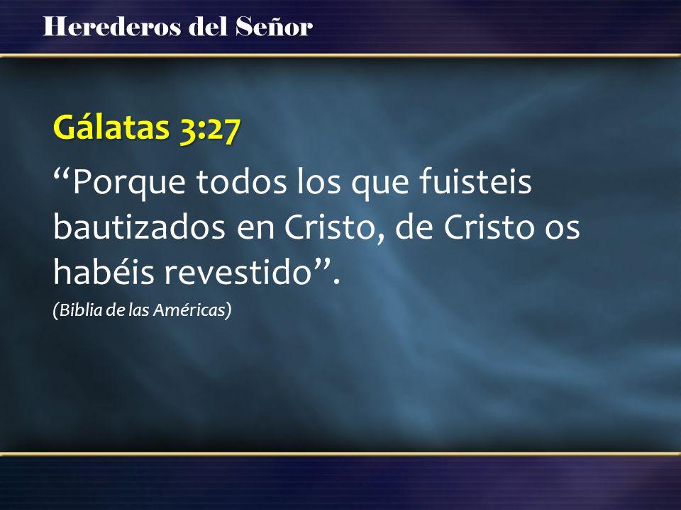 Herederos del Señor Gálatas 3:27 Porque todos los que fuisteis bautizados en Cristo, de Cristo os habéis revestido. (Biblia de las Américas)