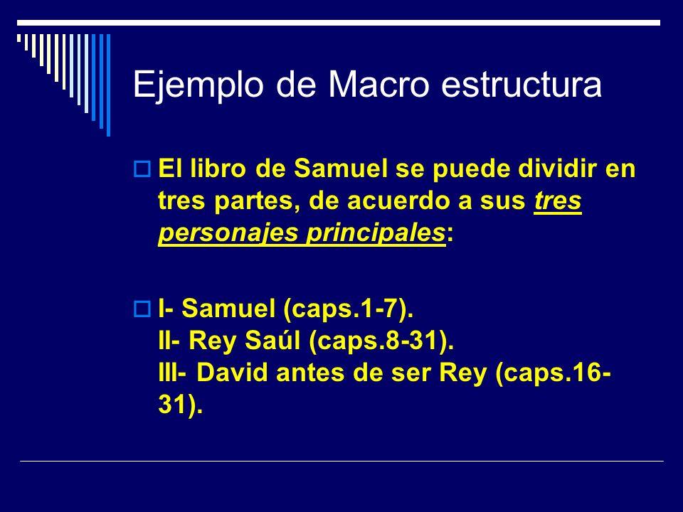 Ejemplo de Macro estructura El libro de Samuel se puede dividir en tres partes, de acuerdo a sus tres personajes principales: I- Samuel (caps.1-7). II