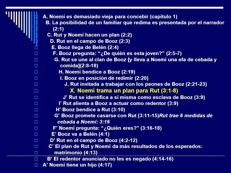 A. Noemí es demasiado vieja para concebir (capítulo 1) B. La posibilidad de un familiar que redima es presentada por el narrador (2:1) C. Rut y Noemí
