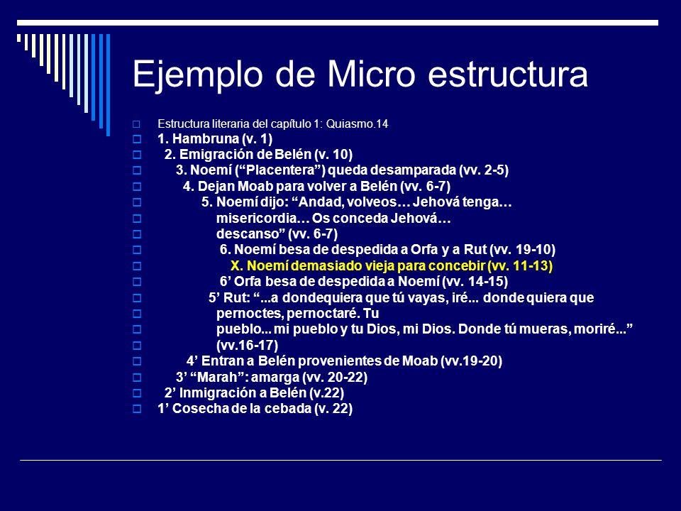 Ejemplo de Micro estructura Estructura literaria del capítulo 1: Quiasmo.14 1. Hambruna (v. 1) 2. Emigración de Belén (v. 10) 3. Noemí (Placentera) qu