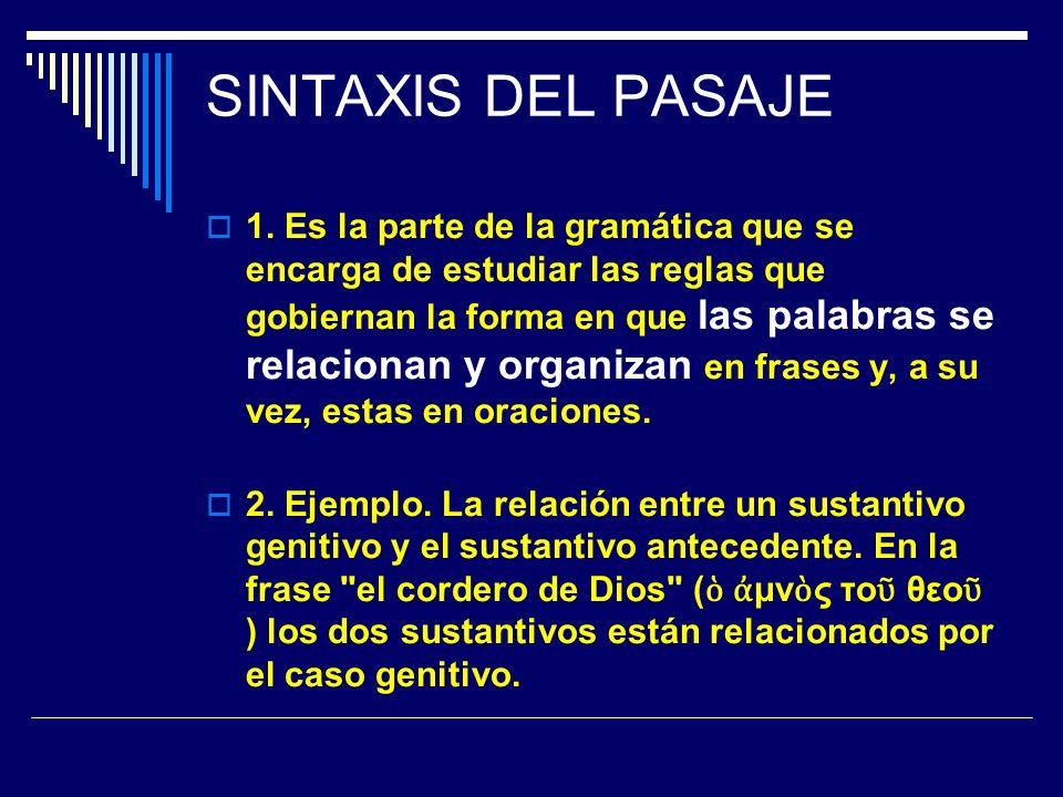 SINTAXIS DEL PASAJE 1. Es la parte de la gramática que se encarga de estudiar las reglas que gobiernan la forma en que las palabras se relacionan y or