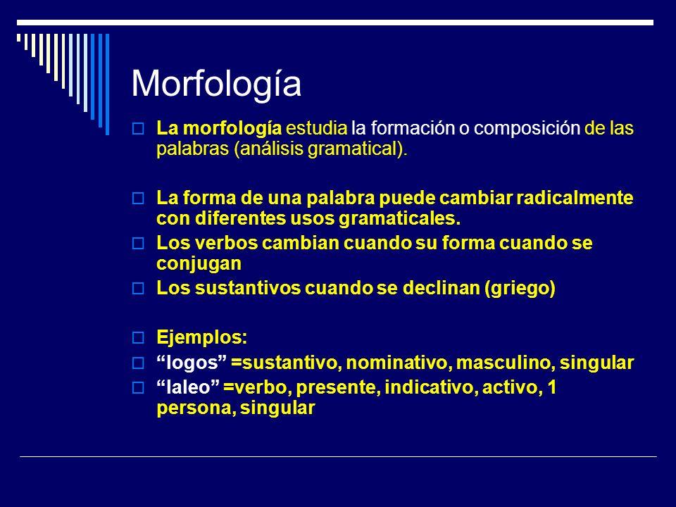 Morfología La morfología estudia la formación o composición de las palabras (análisis gramatical). La forma de una palabra puede cambiar radicalmente