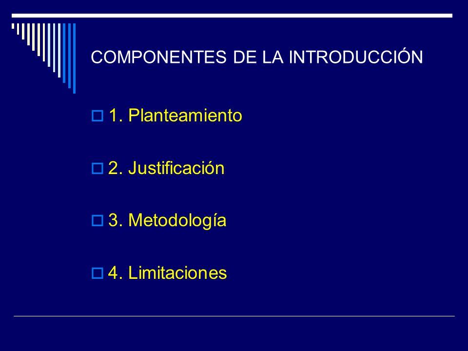 COMPONENTES DE LA INTRODUCCIÓN 1. Planteamiento 2. Justificación 3. Metodología 4. Limitaciones