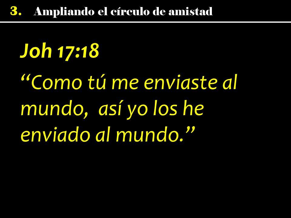 3. Joh 17:18 Como tú me enviaste al mundo, así yo los he enviado al mundo.