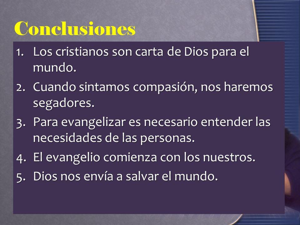 Conclusiones 1.Los cristianos son carta de Dios para el mundo.