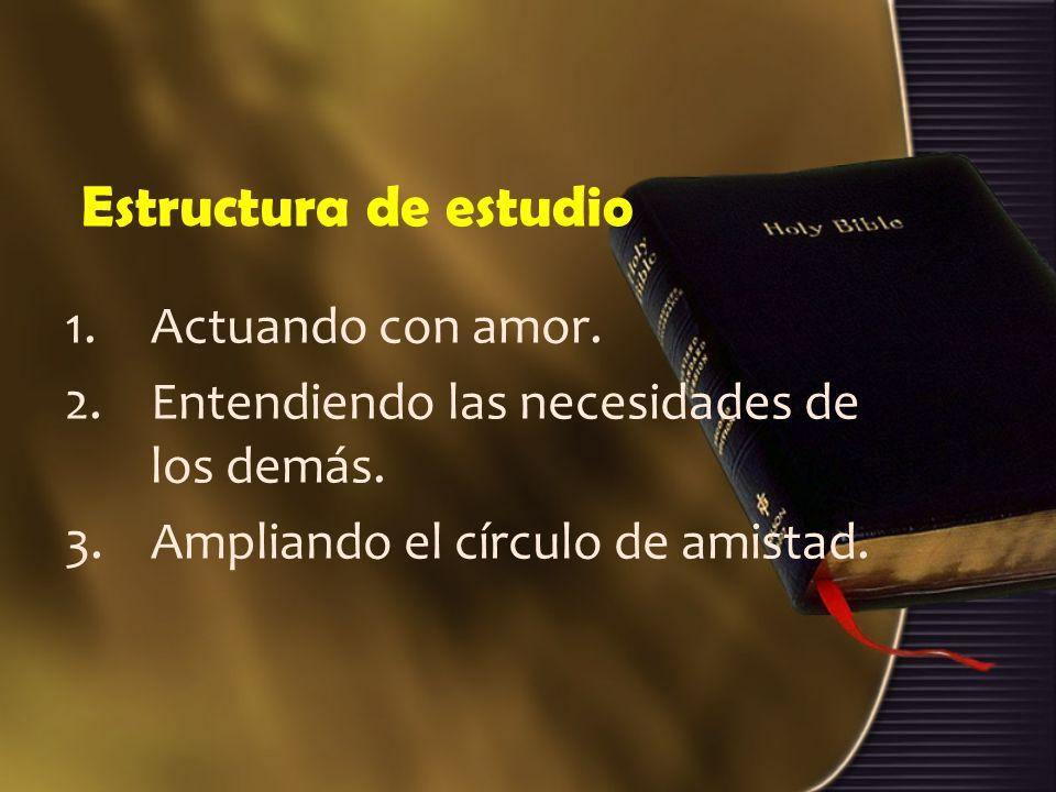 Estructura de estudio 1.Actuando con amor.2.Entendiendo las necesidades de los demás.
