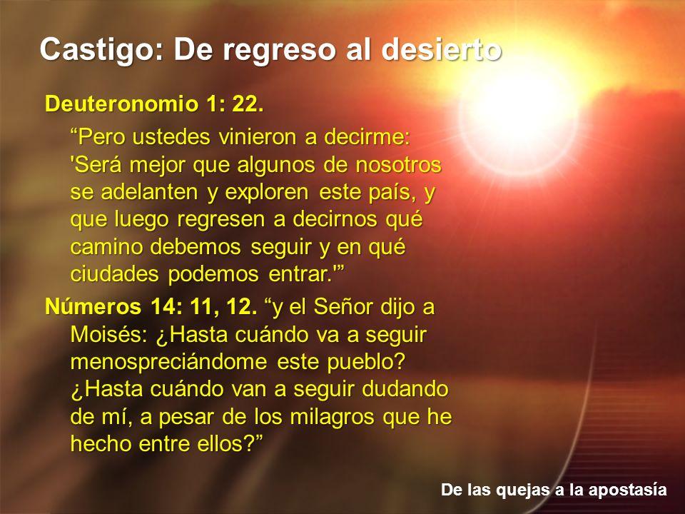 De las quejas a la apostasía Castigo: De regreso al desierto Deuteronomio 1: 22. Pero ustedes vinieron a decirme: 'Será mejor que algunos de nosotros