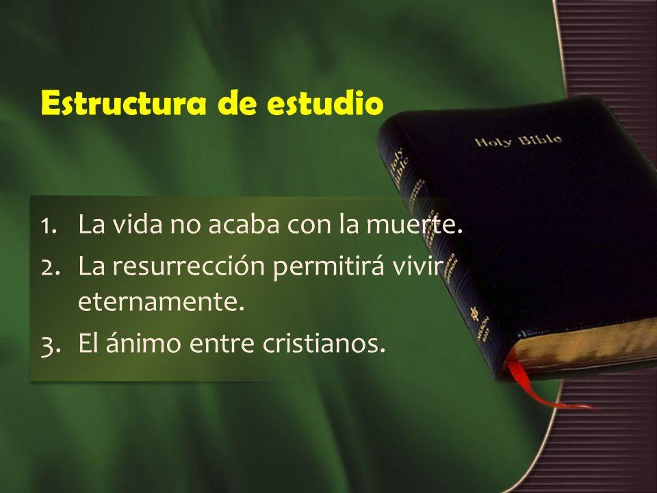 Estructura de estudio 1.La vida no acaba con la muerte. 2.La resurrección permitirá vivir eternamente. 3.El ánimo entre cristianos.