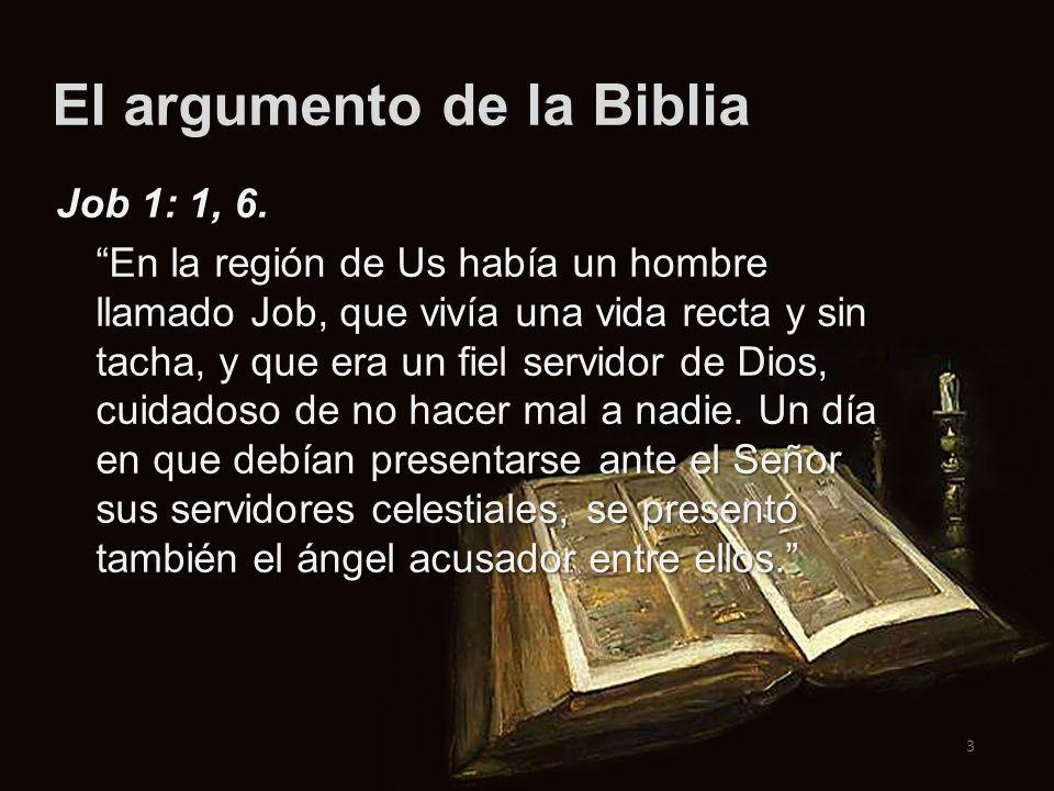 El argumento de la Biblia 3 Job 1: 1, 6. En la región de Us había un hombre llamado Job, que vivía una vida recta y sin tacha, y que era un fiel servi