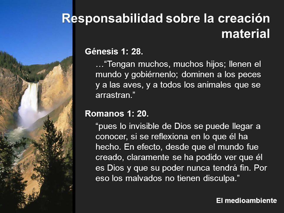 Responsabilidad sobre la creación material El medioambiente Génesis 1: 28. …Tengan muchos, muchos hijos; llenen el mundo y gobiérnenlo; dominen a los
