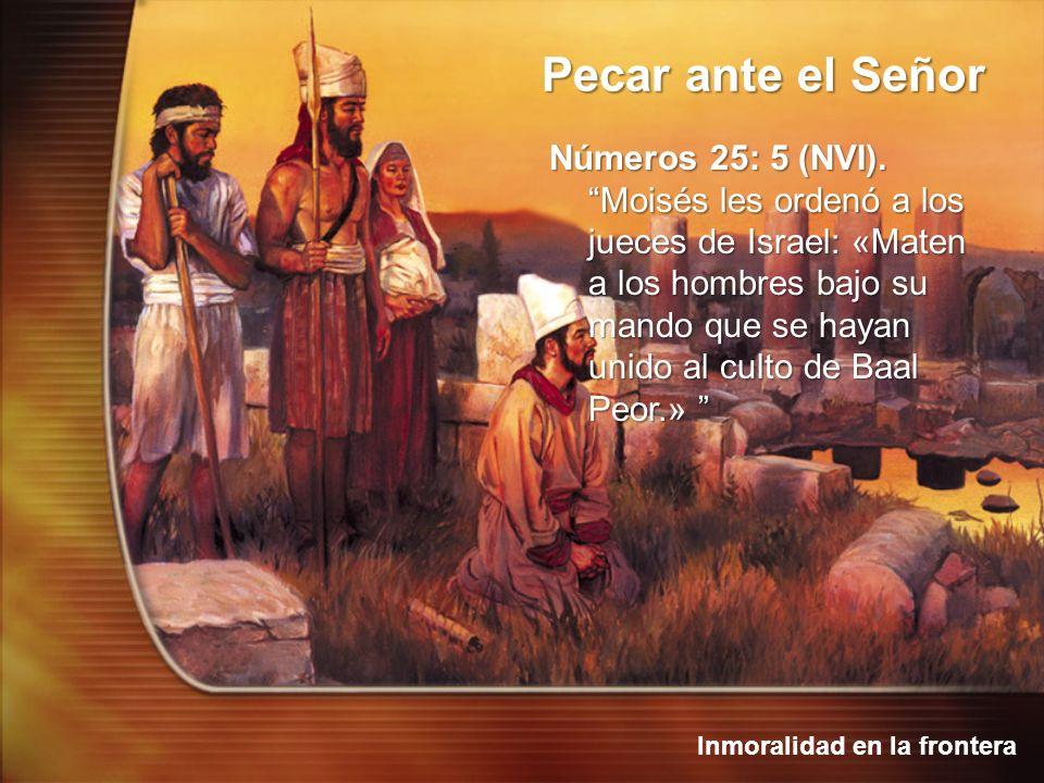 Inmoralidad en la frontera Pecar ante el Señor Números 25: 5 (NVI). Moisés les ordenó a los jueces de Israel: «Maten a los hombres bajo su mando que s