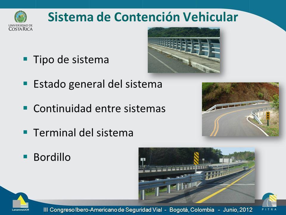 Sistema de Contención Vehicular Tipo de sistema Estado general del sistema Continuidad entre sistemas Terminal del sistema Bordillo III Congreso Ibero