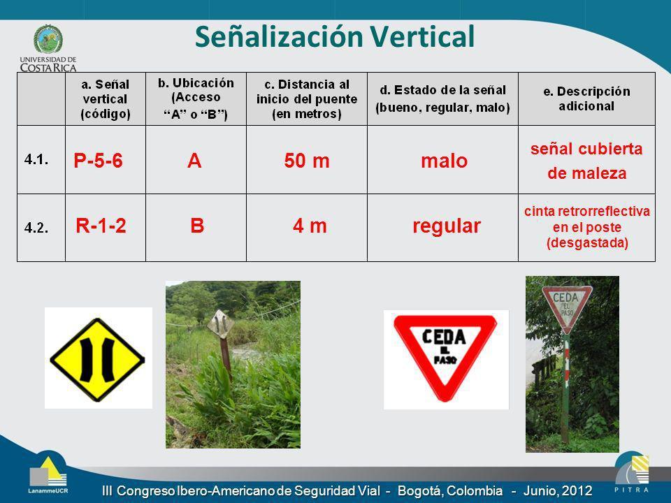 Señalización Vertical P-5-6A50 mmalo R-1-2B4 mregular señal cubierta de maleza cinta retrorreflectiva en el poste (desgastada) III Congreso Ibero-Amer