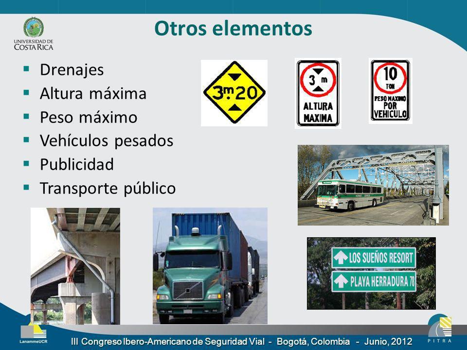 Otros elementos Drenajes Altura máxima Peso máximo Vehículos pesados Publicidad Transporte público III Congreso Ibero-Americano de Seguridad Vial - Bo