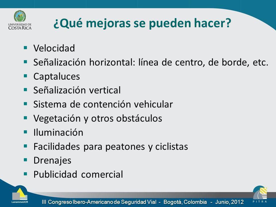 III Congreso Ibero-Americano de Seguridad Vial - Bogotá, Colombia - Junio, 2012 Velocidad Señalización horizontal: línea de centro, de borde, etc. Cap
