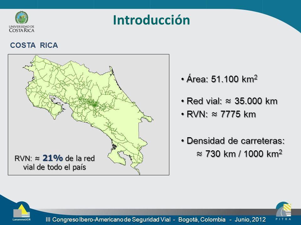 Introducción III Congreso Ibero-Americano de Seguridad Vial - Bogotá, Colombia - Junio, 2012 Área: 51.100 km 2 Área: 51.100 km 2 Red vial: 35.000 km R