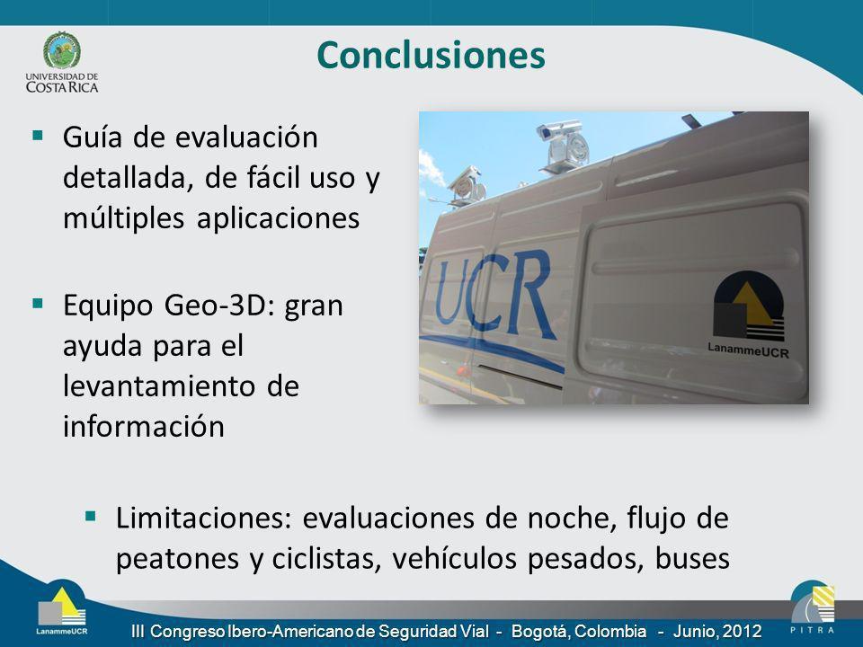 Conclusiones Guía de evaluación detallada, de fácil uso y múltiples aplicaciones Equipo Geo-3D: gran ayuda para el levantamiento de información Limita