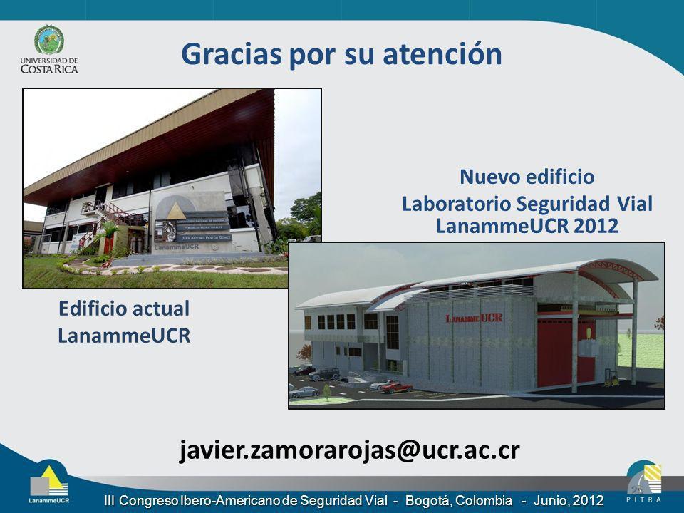 javier.zamorarojas@ucr.ac.cr 25 Nuevo edificio Laboratorio Seguridad Vial LanammeUCR 2012 Edificio actual LanammeUCR III Congreso Ibero-Americano de S