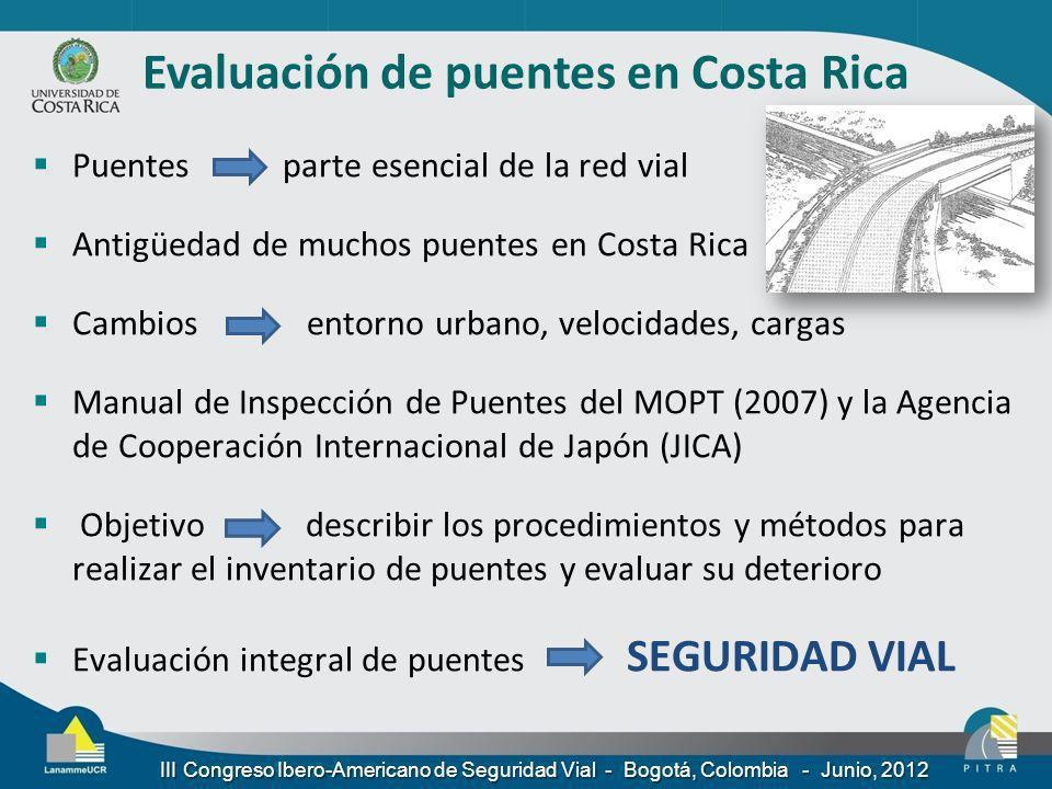 Evaluación de puentes en Costa Rica Puentes parte esencial de la red vial Antigüedad de muchos puentes en Costa Rica Cambios entorno urbano, velocidad
