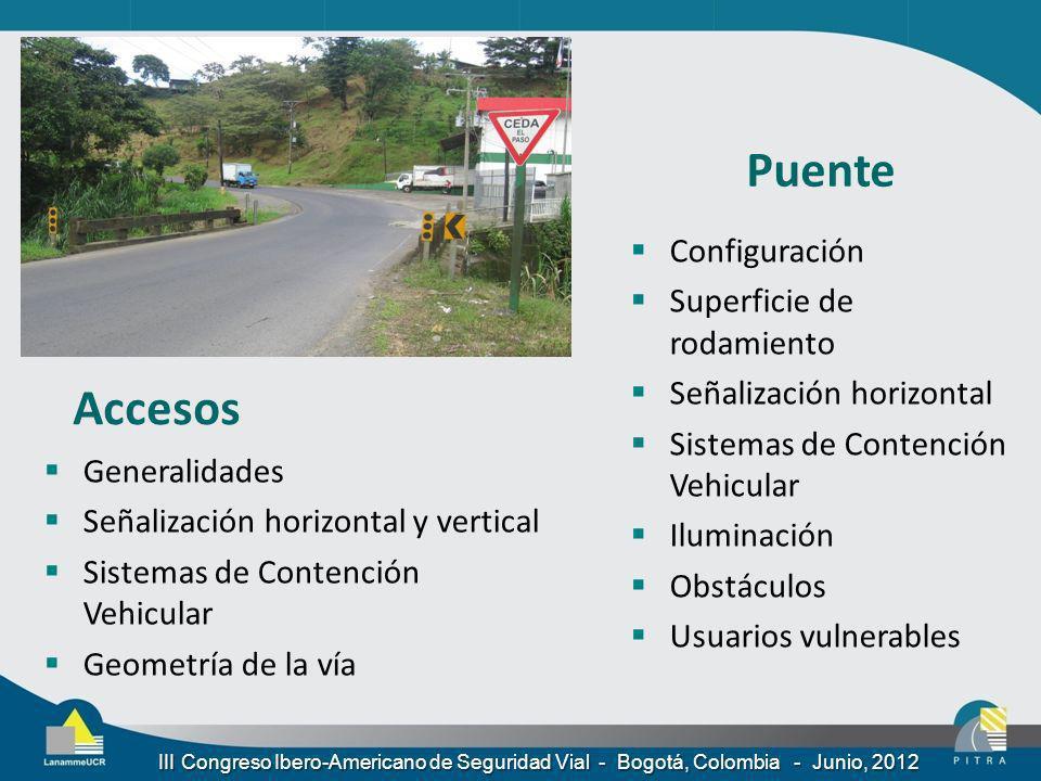 Accesos Generalidades Señalización horizontal y vertical Sistemas de Contención Vehicular Geometría de la vía Puente Configuración Superficie de rodam