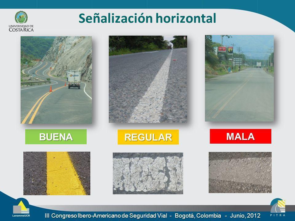 Señalización horizontal BUENA REGULAR MALA III Congreso Ibero-Americano de Seguridad Vial - Bogotá, Colombia - Junio, 2012