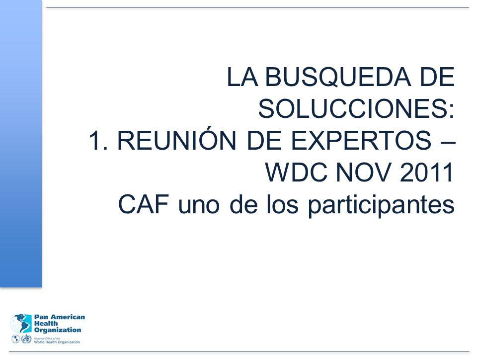 LA BUSQUEDA DE SOLUCCIONES: 1. REUNIÓN DE EXPERTOS – WDC NOV 2011 CAF uno de los participantes