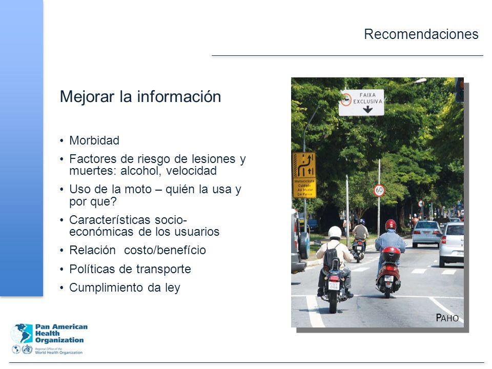 Recomendaciones Mejorar la información Morbidad Factores de riesgo de lesiones y muertes: alcohol, velocidad Uso de la moto – quién la usa y por que.
