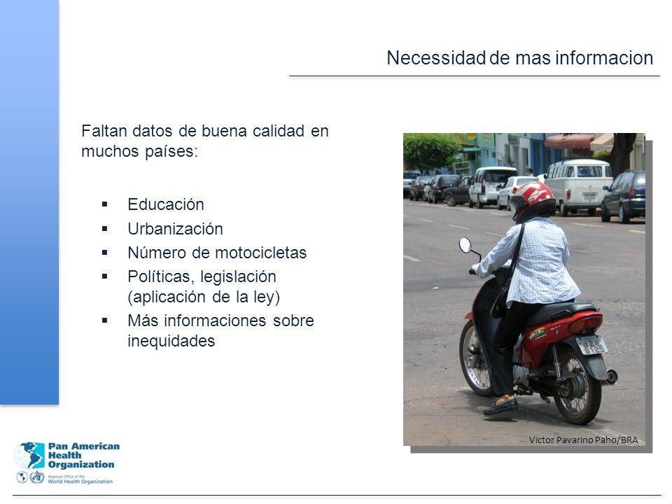 Necessidad de mas informacion Faltan datos de buena calidad en muchos países: Educación Urbanización Número de motocicletas Políticas, legislación (aplicación de la ley) Más informaciones sobre inequidades Victor Pavarino Paho/BRA