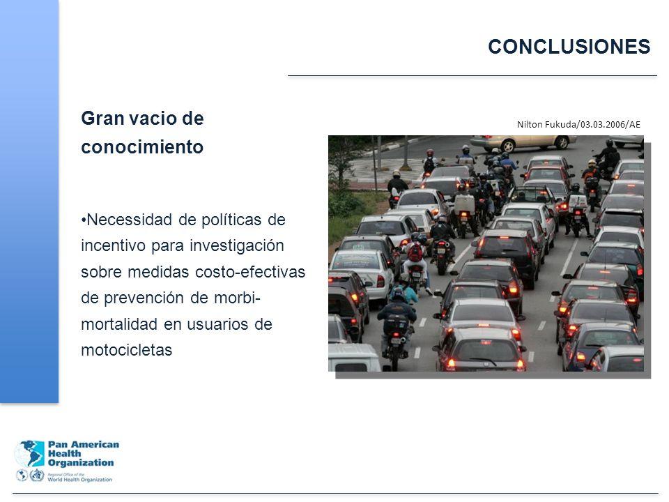 CONCLUSIONES Gran vacio de conocimiento Necessidad de políticas de incentivo para investigación sobre medidas costo-efectivas de prevención de morbi- mortalidad en usuarios de motocicletas Nilton Fukuda/03.03.2006/AE