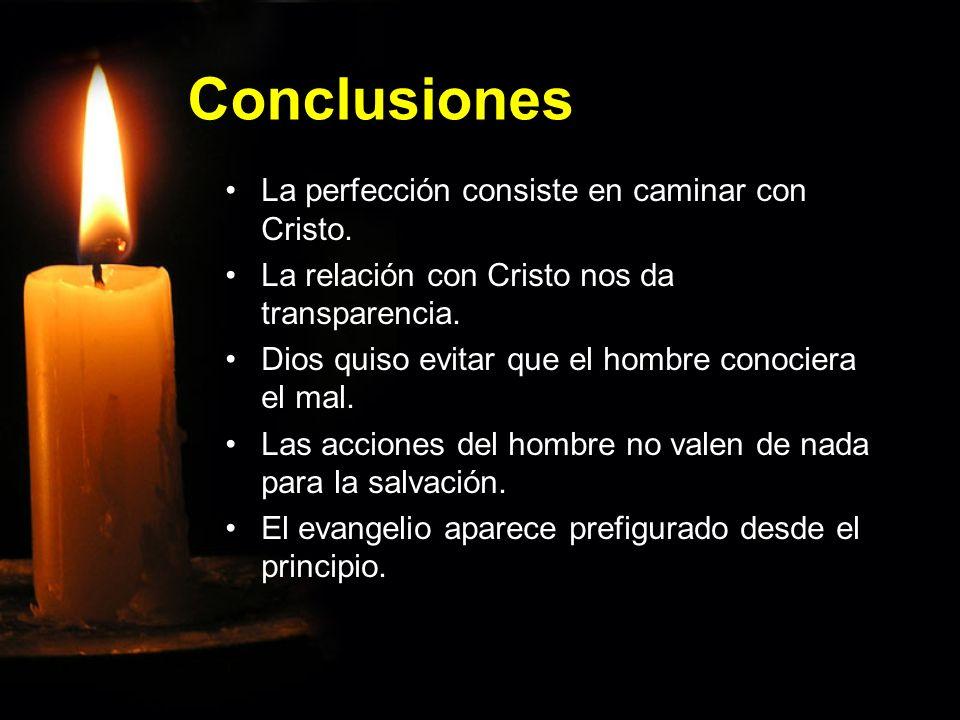 Conclusiones La perfección consiste en caminar con Cristo.La perfección consiste en caminar con Cristo. La relación con Cristo nos da transparencia.La