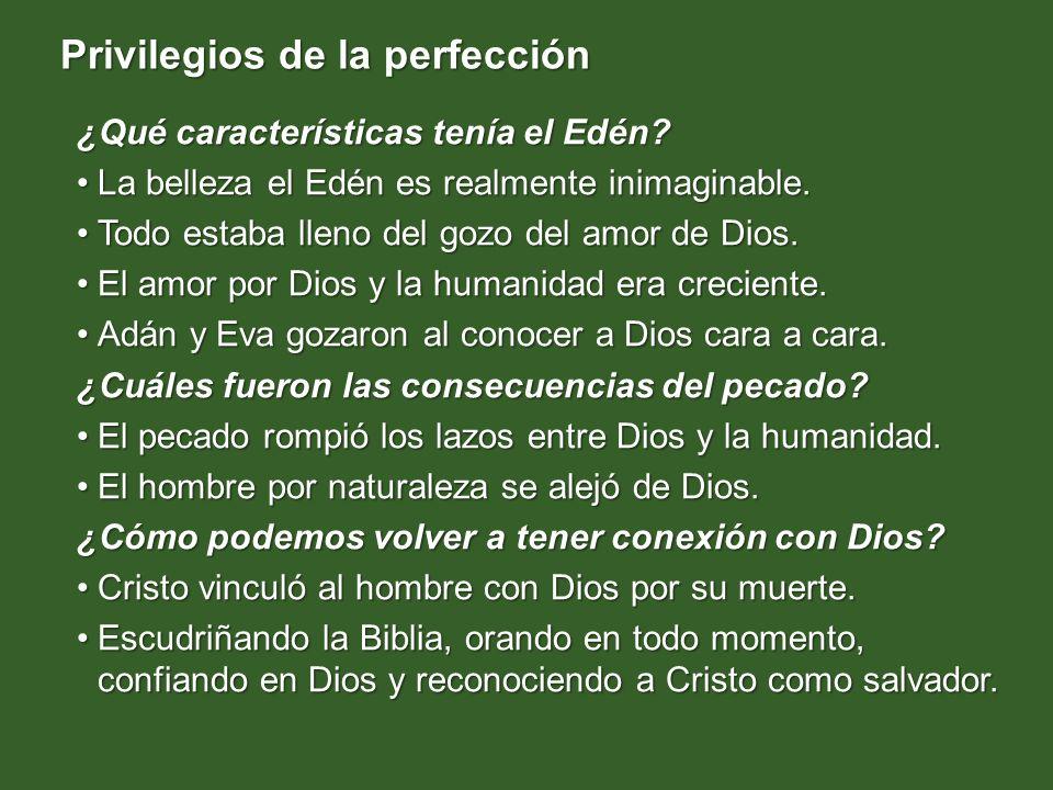 Privilegios de la perfección ¿De qué cosas gozaban Adán y Eva antes del pecado.