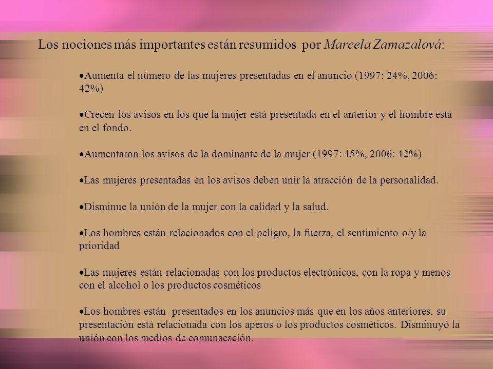 Los nociones más importantes están resumidos por Marcela Zamazalová: Aumenta el número de las mujeres presentadas en eĺ anuncio (1997: 24%, 2006: 42%)