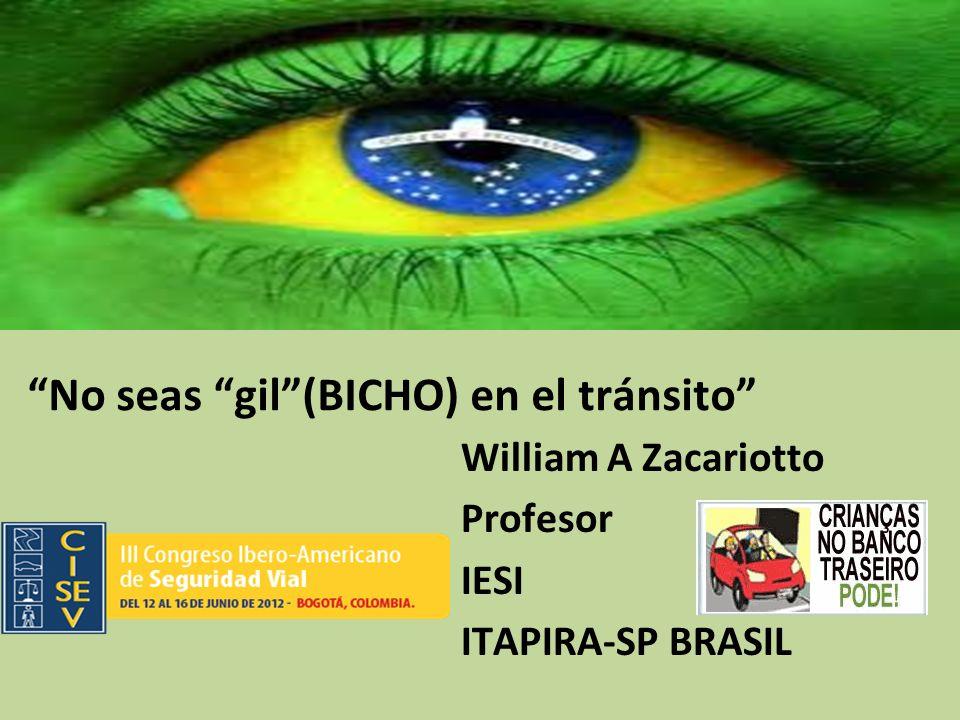 No seas gil(BICHO) en el tránsito William A Zacariotto Profesor IESI ITAPIRA-SP BRASIL