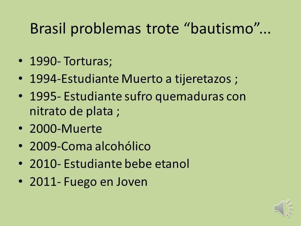 Problematización – Totre (bautismo) es muy fuerte en Brasil – Alumnos tristes desenlaces. – Obligados a soportar presiones y humillaciones impuestas p