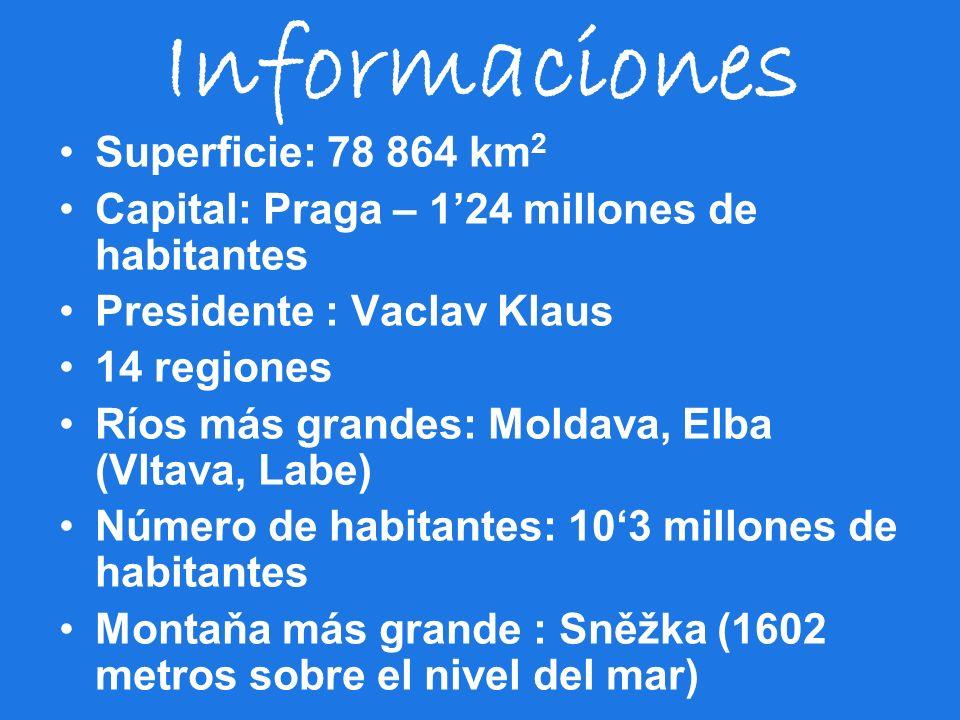 Informaciones Superficie: 78 864 km 2 Capital: Praga – 124 millones de habitantes Presidente : Vaclav Klaus 14 regiones Ríos más grandes: Moldava, Elb