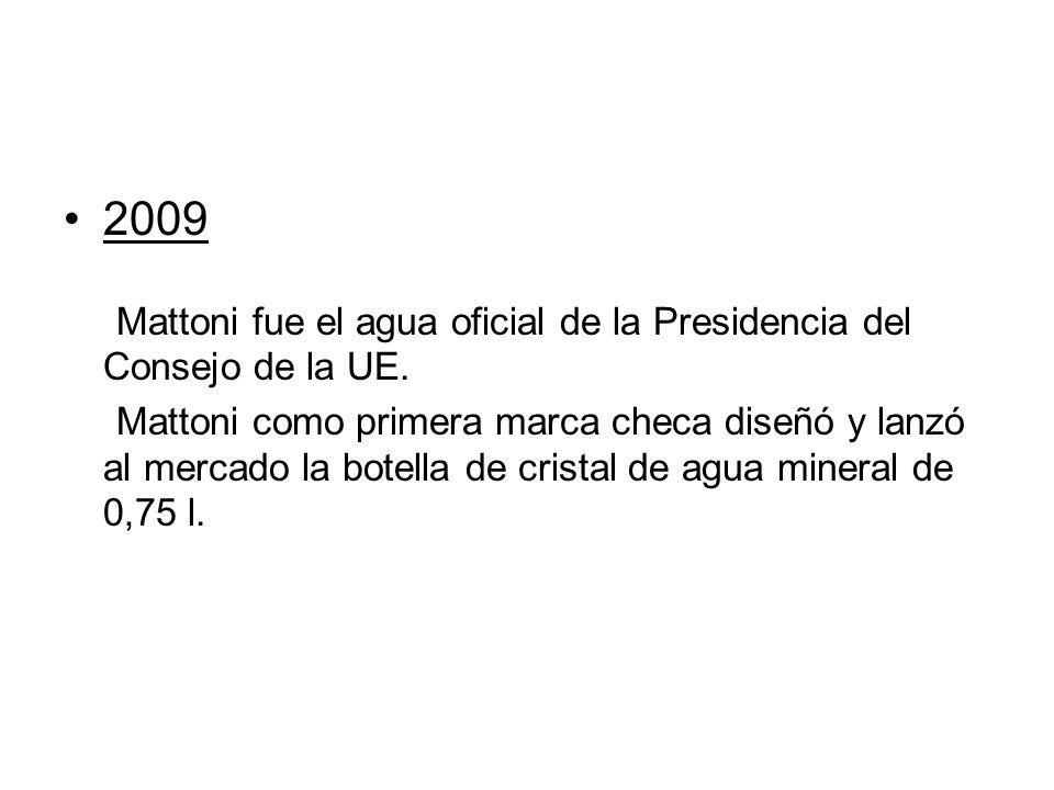 2009 Mattoni fue el agua oficial de la Presidencia del Consejo de la UE. Mattoni como primera marca checa diseñó y lanzó al mercado la botella de cris