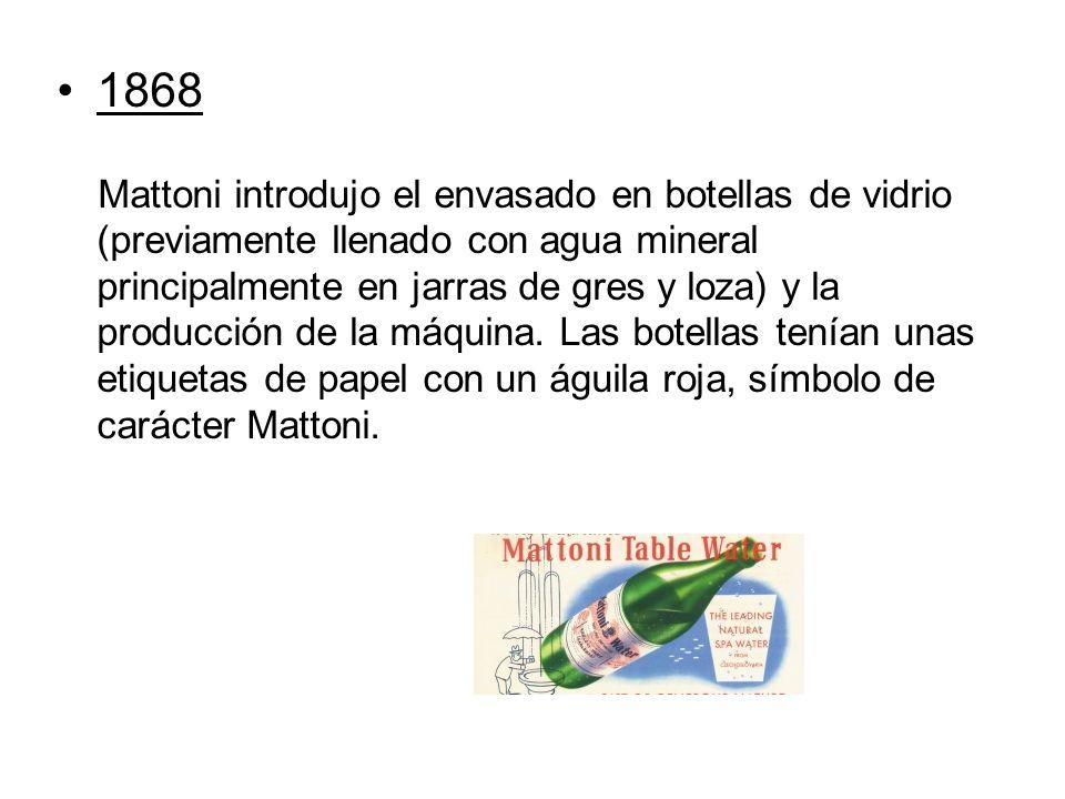 1868 Mattoni introdujo el envasado en botellas de vidrio (previamente llenado con agua mineral principalmente en jarras de gres y loza) y la producción de la máquina.