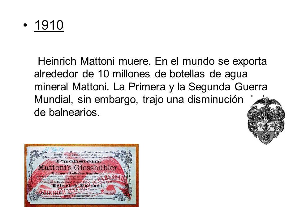 1910 Heinrich Mattoni muere. En el mundo se exporta alrededor de 10 millones de botellas de agua mineral Mattoni. La Primera y la Segunda Guerra Mundi