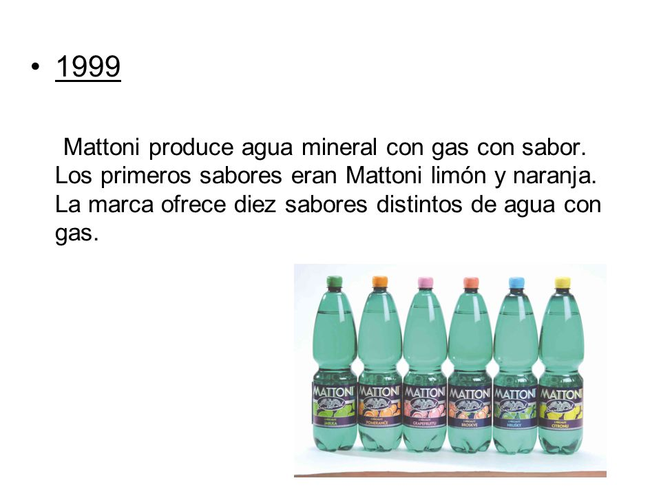 1999 Mattoni produce agua mineral con gas con sabor. Los primeros sabores eran Mattoni limón y naranja. La marca ofrece diez sabores distintos de agua