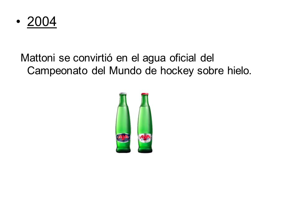 2004 Mattoni se convirtió en el agua oficial del Campeonato del Mundo de hockey sobre hielo.