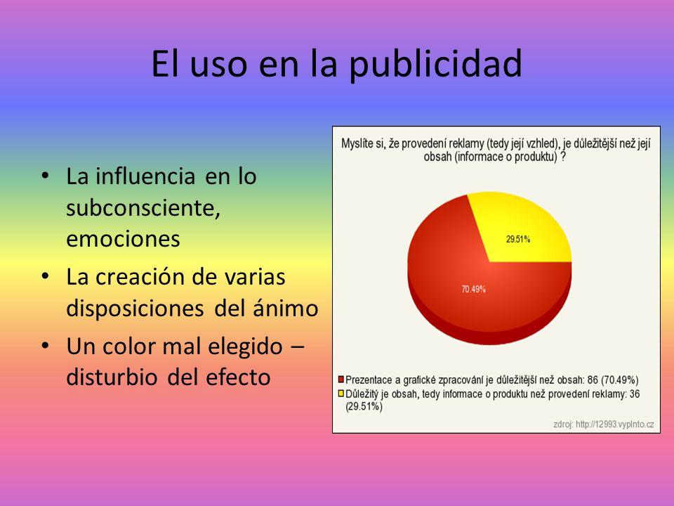 El uso en la publicidad La influencia en lo subconsciente, emociones La creación de varias disposiciones del ánimo Un color mal elegido – disturbio de