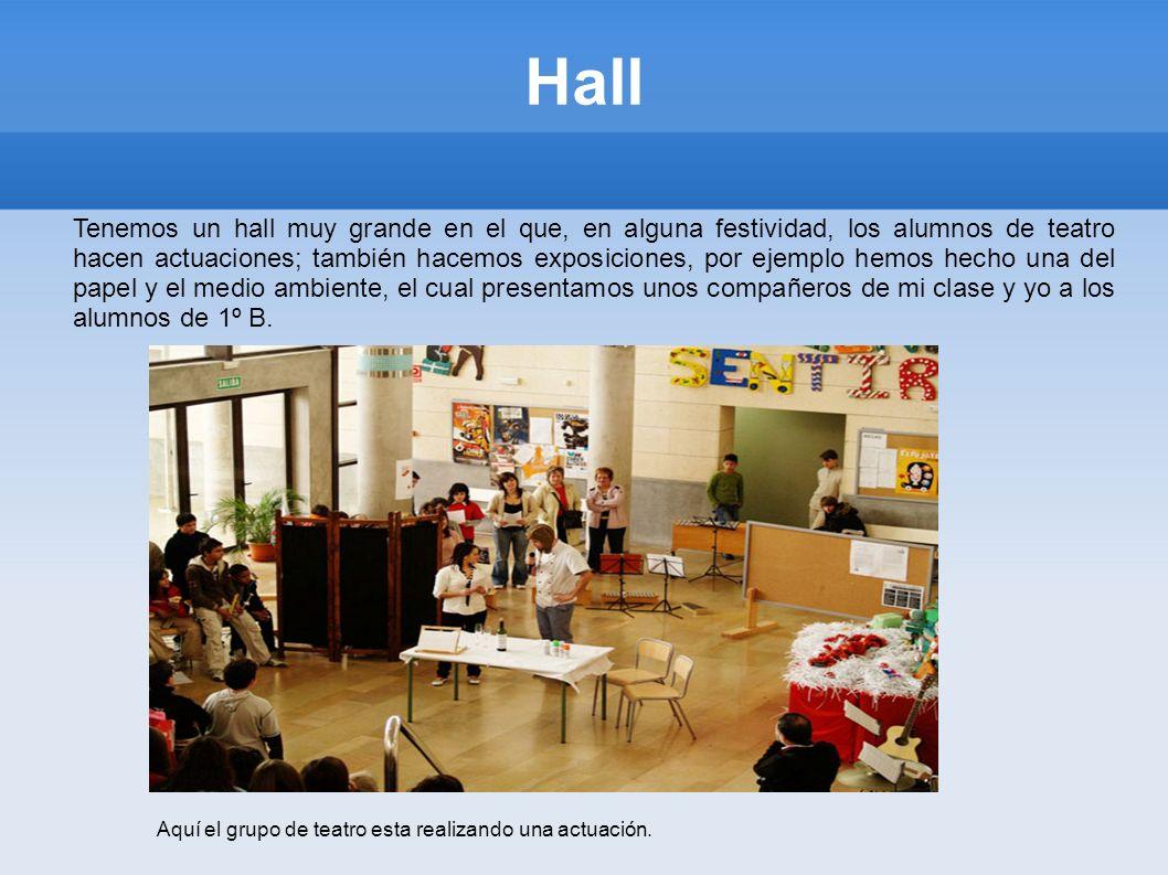 Hall Tenemos un hall muy grande en el que, en alguna festividad, los alumnos de teatro hacen actuaciones; también hacemos exposiciones, por ejemplo he