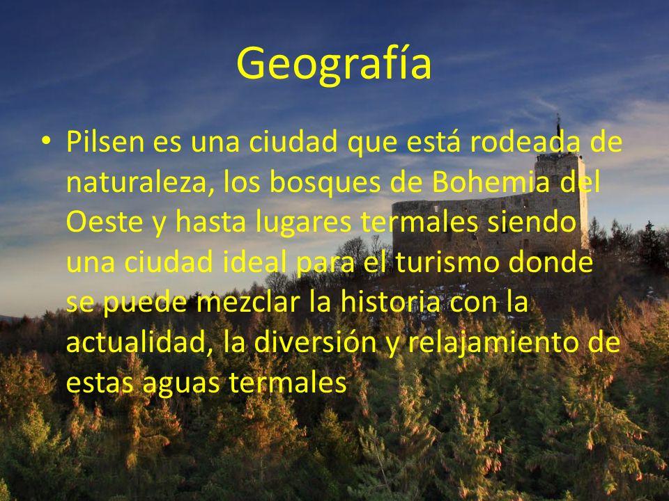 Geografía Pilsen es una ciudad que está rodeada de naturaleza, los bosques de Bohemia del Oeste y hasta lugares termales siendo una ciudad ideal para