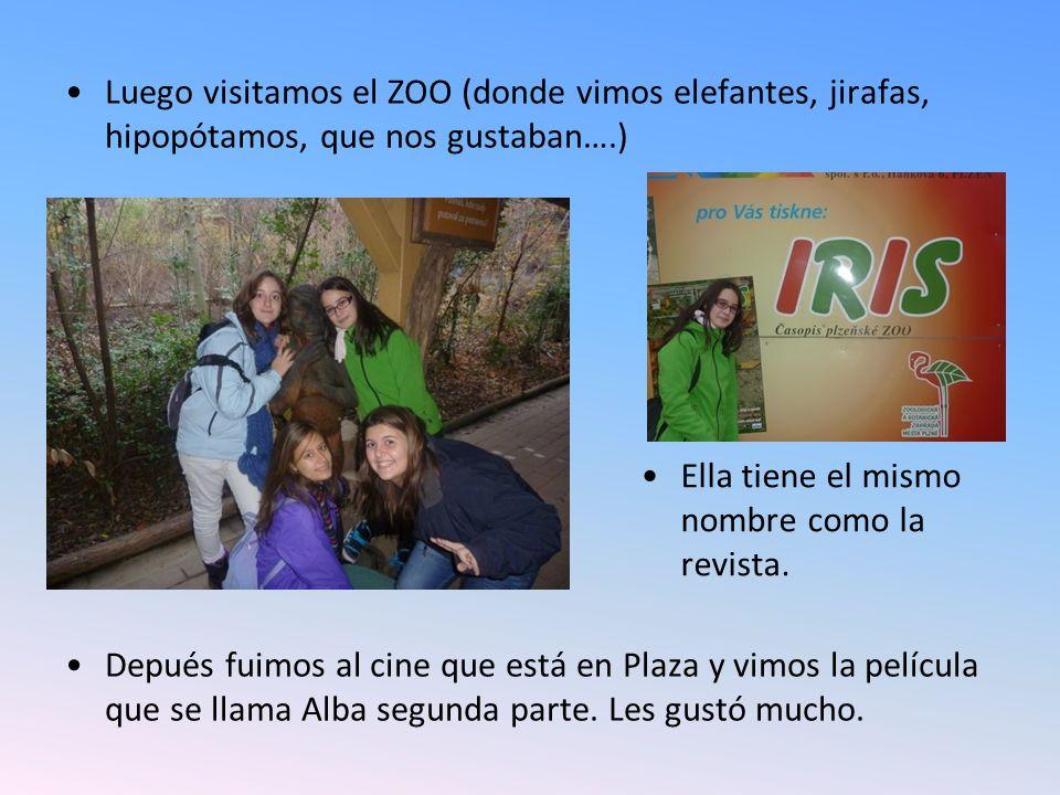 Luego visitamos el ZOO (donde vimos elefantes, jirafas, hipopótamos, que nos gustaban….) Depués fuimos al cine que está en Plaza y vimos la película que se llama Alba segunda parte.
