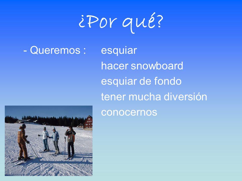 ¿Por qué - Queremos : esquiar hacer snowboard esquiar de fondo tener mucha diversión conocernos