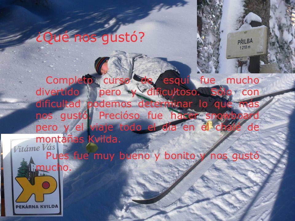 ¿Qué nos gustó? Completo curso de esquí fue mucho divertido pero y dificultoso. Sólo con dificultad podemos determinar lo que más nos gustó. Precióso