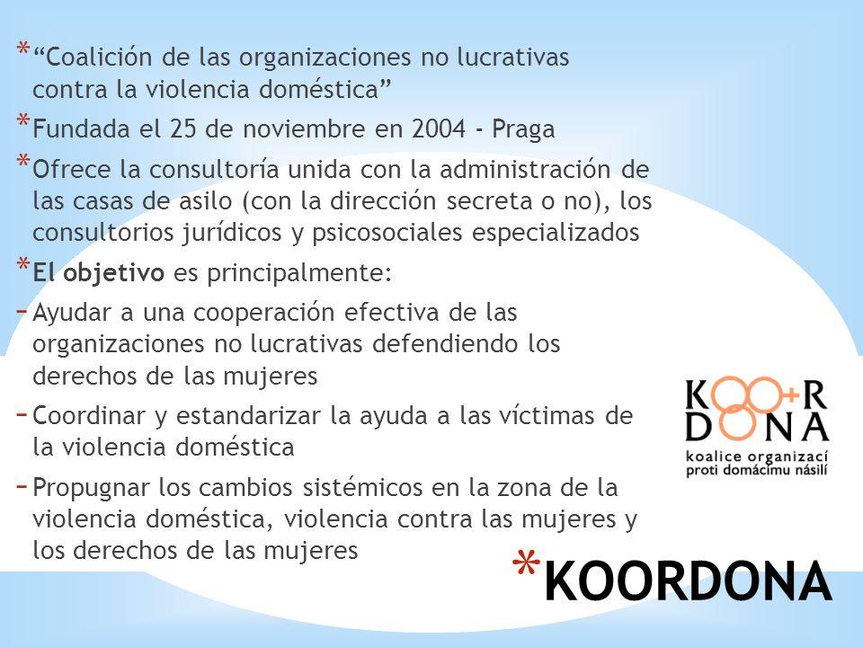 * KOORDONA *Coalición de las organizaciones no lucrativas contra la violencia doméstica * Fundada el 25 de noviembre en 2004 - Praga * Ofrece la consu
