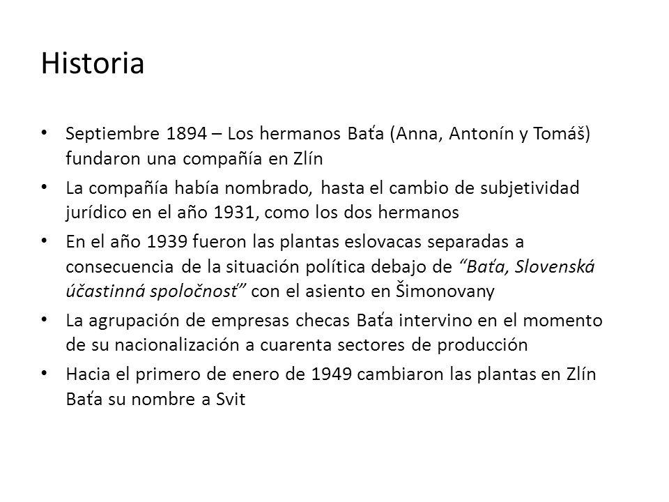 Historia Septiembre 1894 – Los hermanos Baťa (Anna, Antonín y Tomáš) fundaron una compañía en Zlín La compañía había nombrado, hasta el cambio de subj